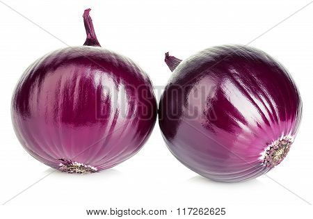 Red Whole Onion Isolated On A White Background.