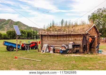 Timber House In Central Mongolia