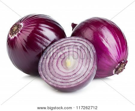 Red Sliced Onion Isolated On A White Background.
