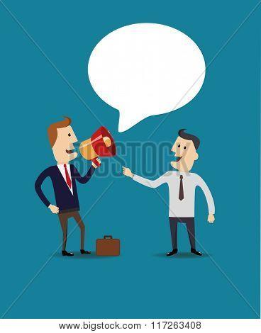 Business man speak in a megaphone. Flat vector illustration.