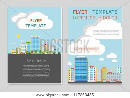 Flyer or Cover Design Template  cityscape background.