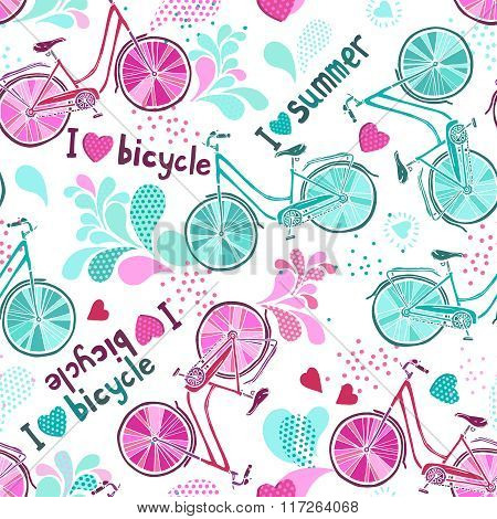 Funny Pattern With Bicycles On White.eps