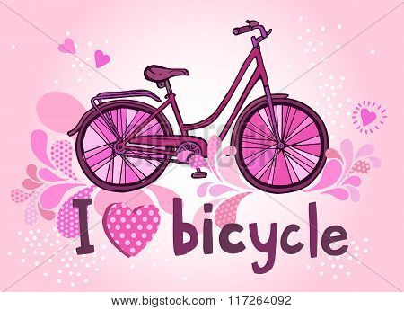 Funny Pink Bicycle With Text.eps