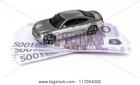 A cash for car symbol image with 500 Euro banknotes
