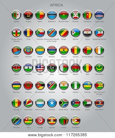 Set of round glossy flags of sovereign countries of Africa with captions in alphabet order.  Contain the Clipping Path of all buttons