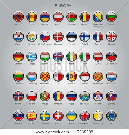 Set of round glossy flags of all sovereign countries of Europa with captions in alphabet order.  Contain the Clipping Path of all buttons