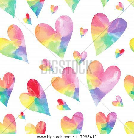 Rainbow hearts seamless pattern