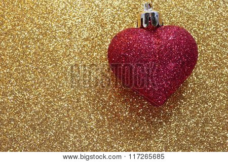 Red Heart On Golden Background Shining