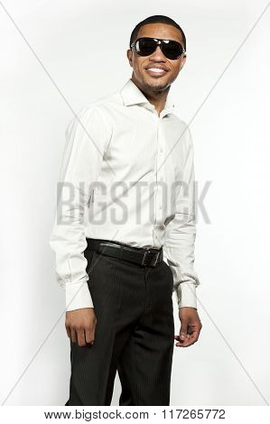 Happy Black Male on White