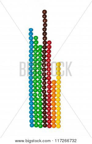 strips of the chocolate coated candy