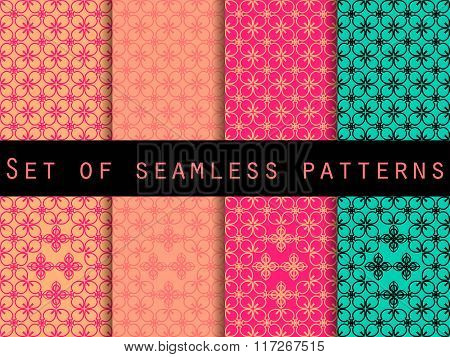 Set Seamless Patterns. Retro Colors 80's. The Pattern For Wallpaper, Bed Linen, Tiles, Fabrics, Back