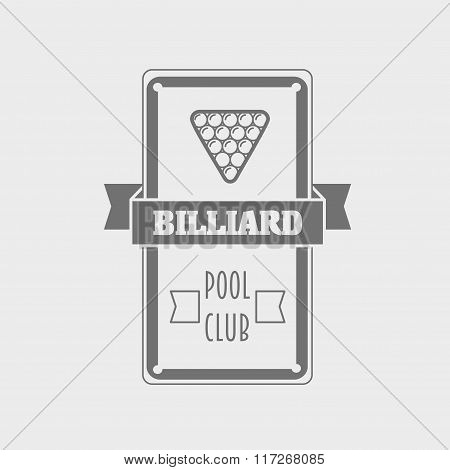 Billiard And Poolroom Emblems Or Icons Set With Table, Balls And Decorations