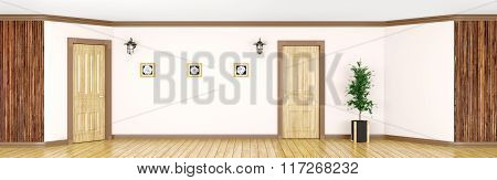 Interior With Classic Wooden Doors Panorama 3D Rendering