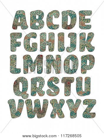 Vector alphabet, letters filled with pattern, color version