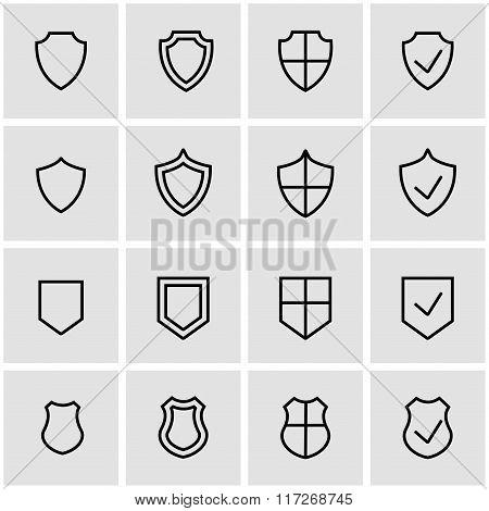Vector Line Shield Icon Set