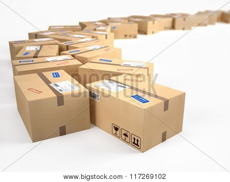 cardboard boxes package parcels - shipping concept