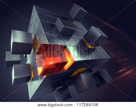 Technology business internet and communication concept - cube assembling from blocks
