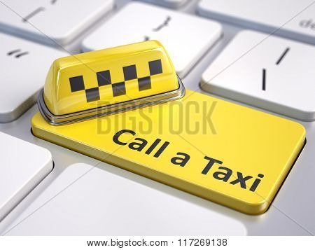 Online call a taxi service concept - taxi car sign on computer keyboard with yellow taxi button