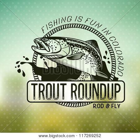 Vintage trout fishing emblems