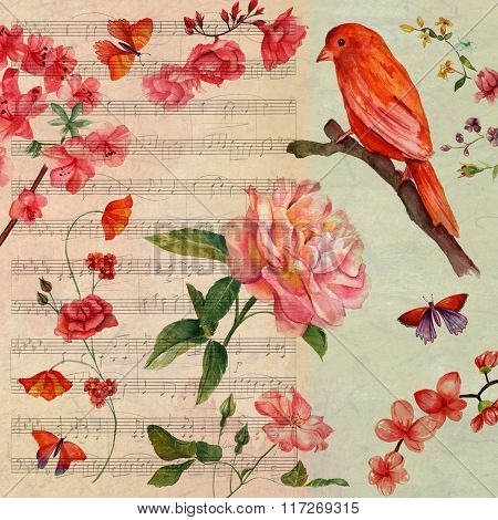 Vintage style collage card with distressed background, watercolour bird and watercolour roses