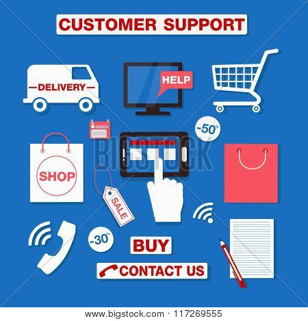 Customer Service Concept Set Of Icons. Support Call Center