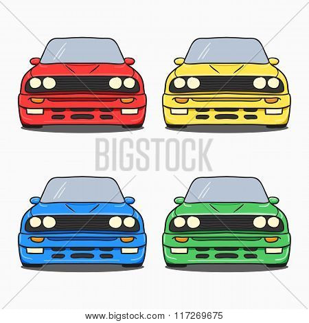 Abstract Retro Car Silhouette Background - Front View.