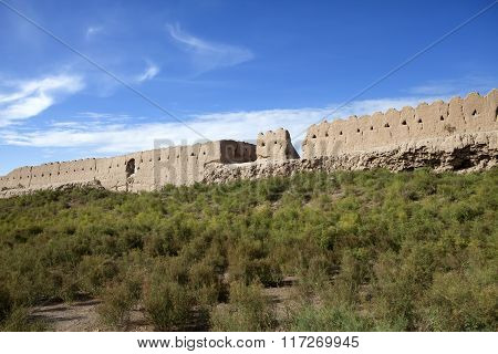 Uzbekistan. Khiva. Ancient city wall in a sunny day