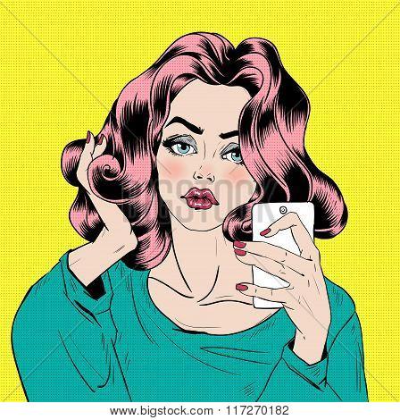 Attractive Girl In Pop Art Style Is Doing Selfie With Smart Phone