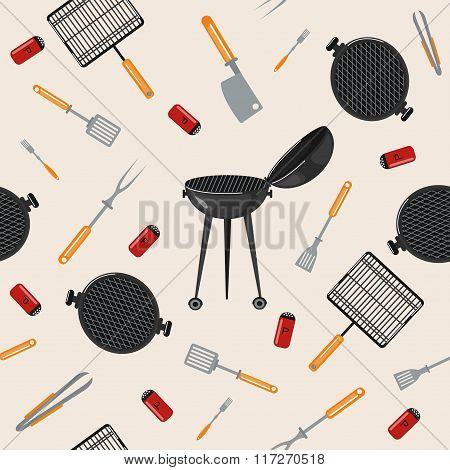 Grill Barbecue Seamless Pattern With Kitchen Tools