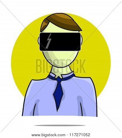 Illustration Of Virtual Reality Person With Circle Background