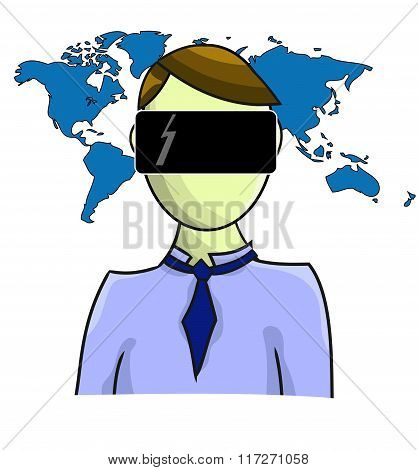 Illustration Of Virtual Reality Person With Map Isolated On White Background