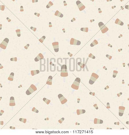 Popsicle ice cream with crumble mixture vintage pattern. Retro background with used texture. Seamles