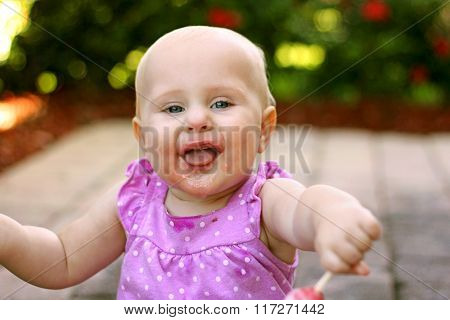 Super Happy Messy Face Baby Girl Outside