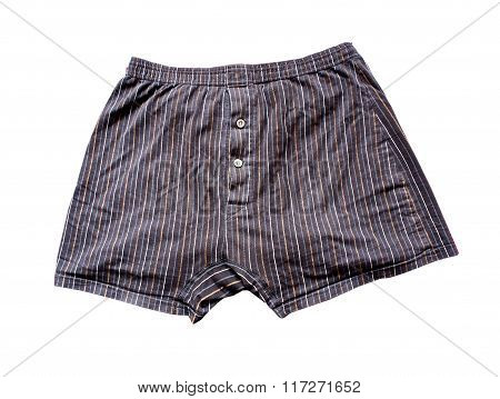Black and white Striped men boxers with orange stripes with buttons isolated on white background
