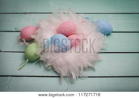 Easter Decoration With Painted Eggs