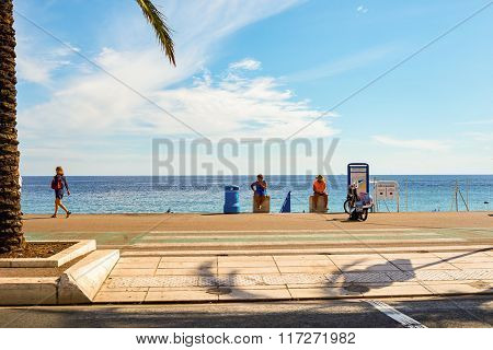 NICE, FRANCE - AUGUST 15, 2015: Nice streets. Nice is the fifth most populous city in France, after Paris, Marseille, Lyon and Toulouse, and it is the capital of the Alpes Maritimes departement