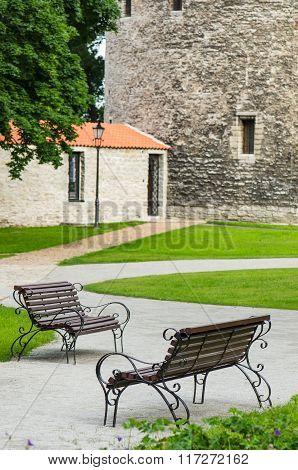 Graceful bench in a park in Tallinn