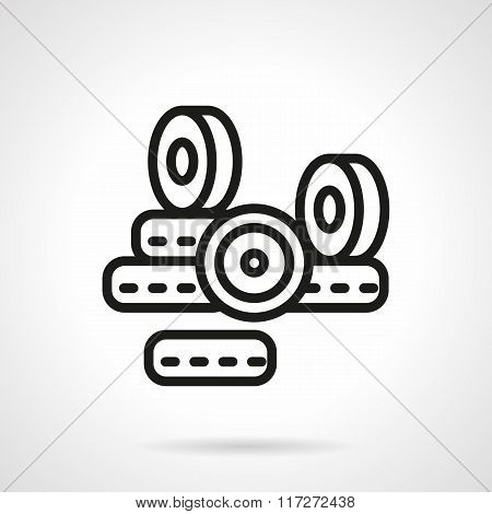 Black line longboard wheels vector icon
