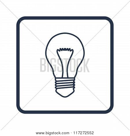 Bulb Icon, On White Background, Rounded Rectangle Border, Blue Outline