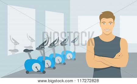 Personal Fitness Trainer Man In Gym Illustration