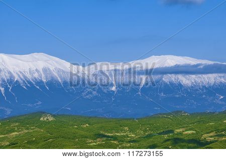 Idyllic landscape with fresh green meadows and snowcapped mountain tops