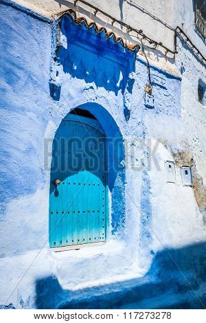 Traditional Moroccan Door Detail In Chefchaouen, Morocco, Africa