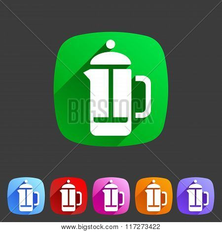 french press coffee icon flat web sign symbol logo label