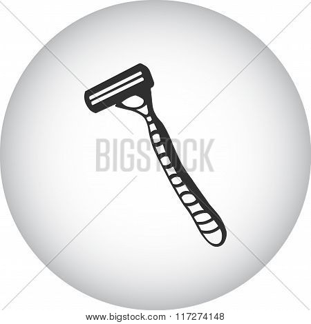 Safety Razor Simple Icon On Colorful Round Background