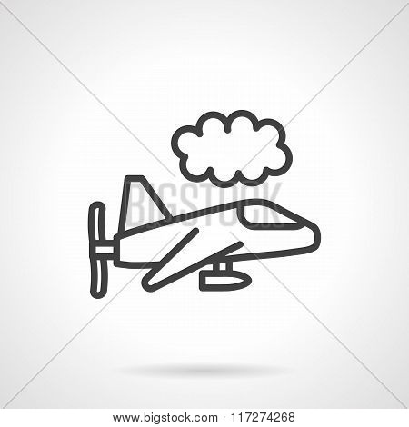 Black line air vehicle in sky vector icon