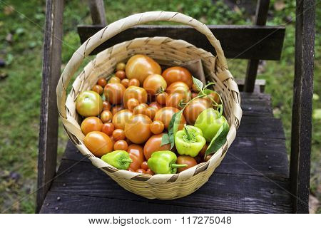Organic Vegetables In A Basket With Tomato And Green Bell Pepper