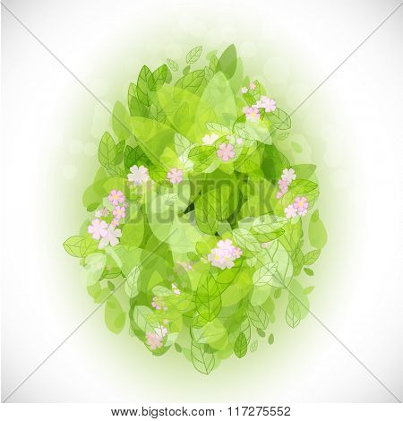 Beautiful card Easter egg with green leaves and pink flowers. Vector illustration