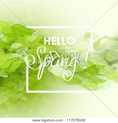 Spring abstract background. Vector illustration. Design element with green leaves. Hello spring