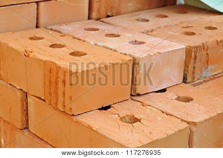 Pile Of Red Bricks.