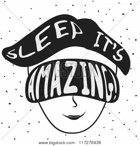 Sleep it's amazing! Vector vintage illustration.